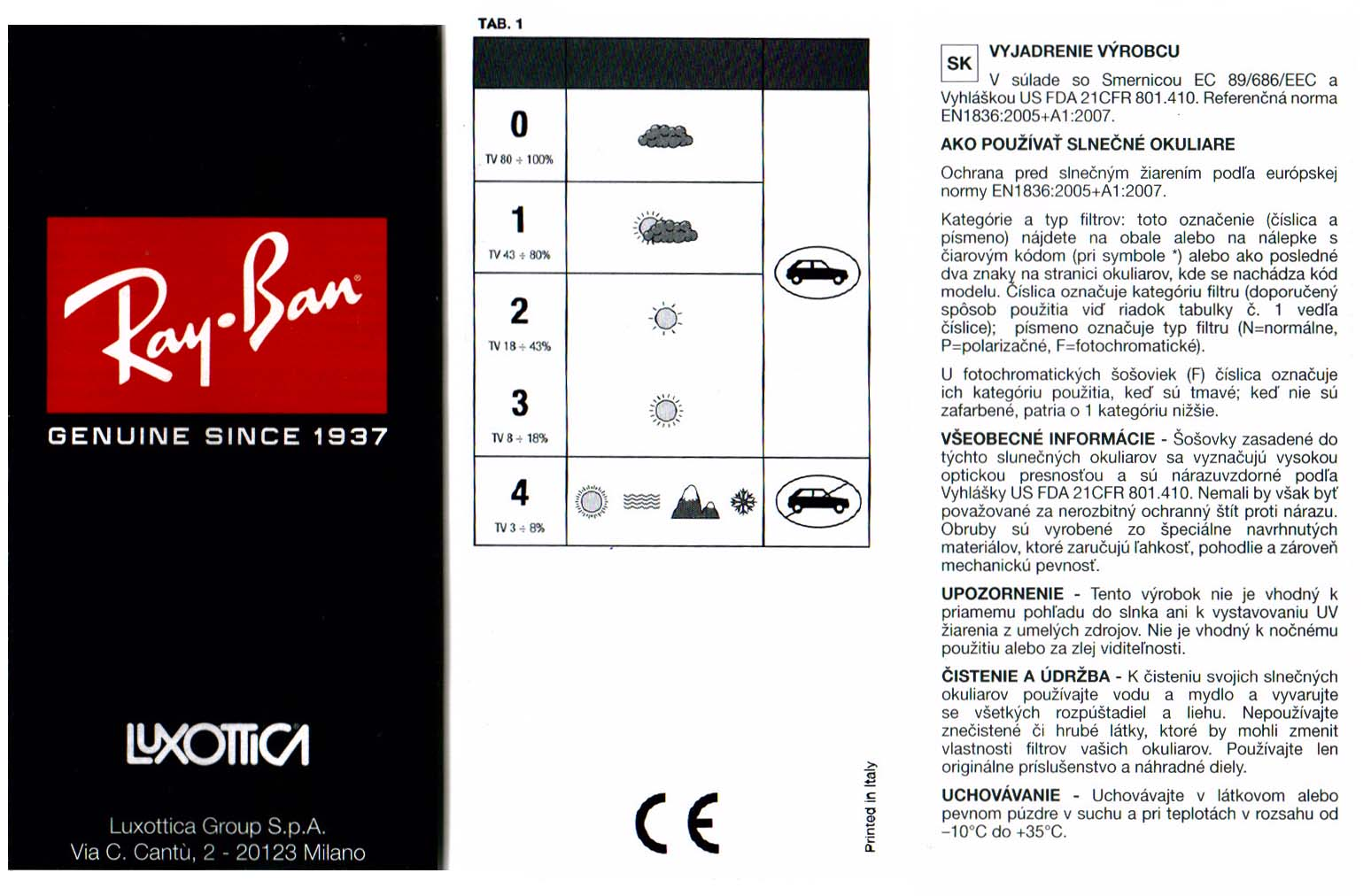 9e1a0607b Stáhnout příbalový leták k produktu Slnečné okuliare Ray Ban RB 3362 004/58  - Polarizačné.